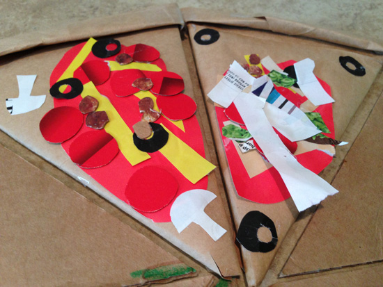 recycled cardboard pizza craft